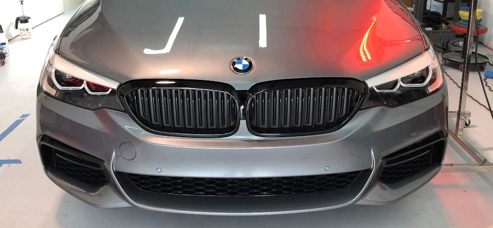 Front of a silver BMW
